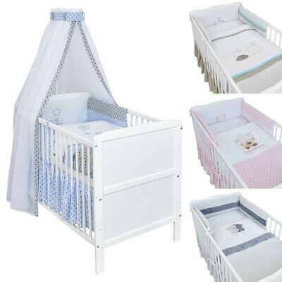 Babybett Kinderbett Juniorbett Weiß Blau 140x70 Bettset Bettwäsche Moskitonetz