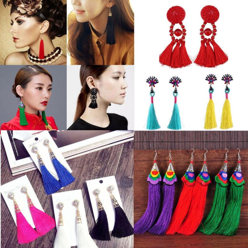 Earrings - Bohemian Earrings Women Vintage Long Tassel Fringe Crystal Boho Dangle Earrings