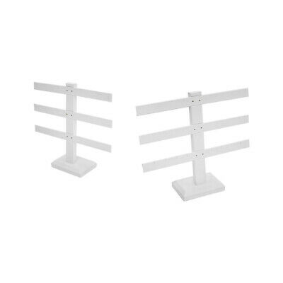 Display Jewelry Showcase White Faux Leather 3 Bars Earring Stand 2 Pc 10 X 9