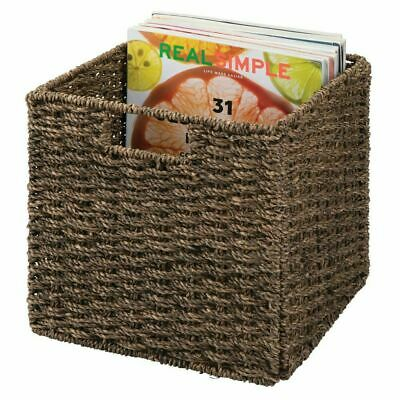 mDesign Woven Seagrass Home Storage Basket for Cube Furniture, 2 Pack Furniture Storage Baskets