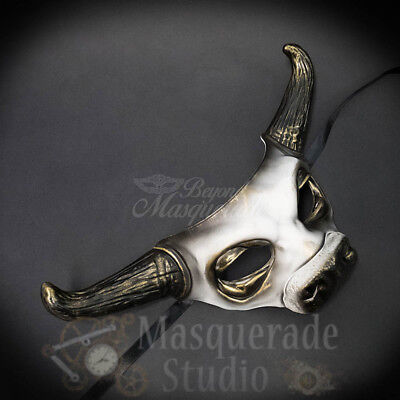 Cow Bull Animal Spirit Halloween Wall Decoration Masquerade Mask [White]