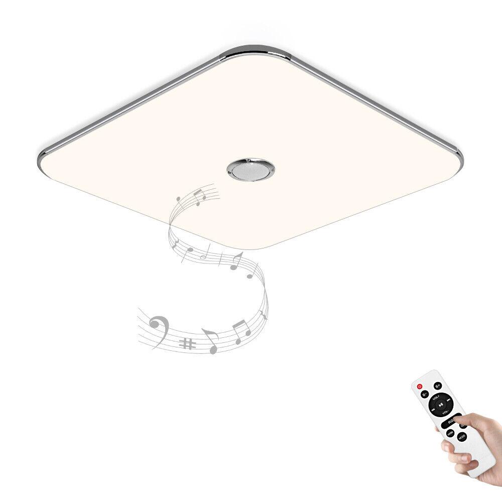 Led Deckenlampe mit Fernbedienung und Bluetooth Lautsprecher 24W Dimmbar silber