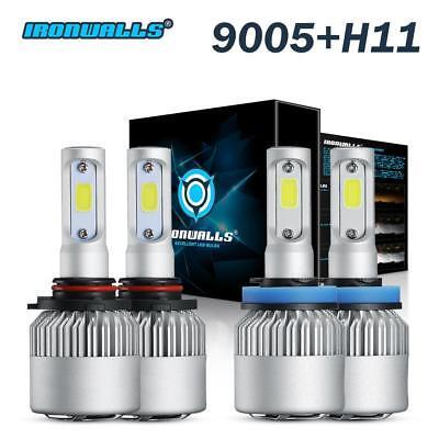 2 Pair 9005 + H11 Combo Total 3000W 450000LM LED Headlight Kit Light Bulbs 6000K