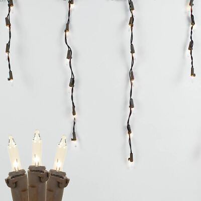 9 Foot Clear Outdoor Christmas Icicle Light Set, Brown Wire, 100 Light ()