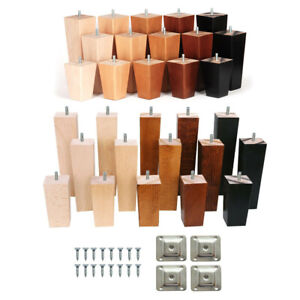 4x Wooden Furniture Square Tapered 4-10'' Feet Legs For Bed Stools Sofa Chair