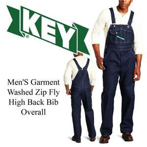 Key Apparel Mens Zip Fly High Back Bib Overall