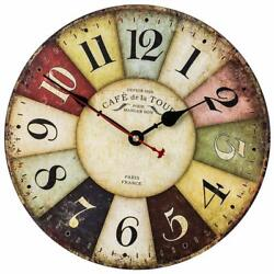 Colorful Retro Wall Clock in Arabic Numerals Style, Silent Non-Ticking 14in