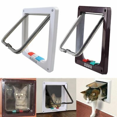 4 Way Pet Cat Puppy Dog Magnetic Lock Lockable Safe Flap Door Gate Frame S M L - Cat Flap Pet Door