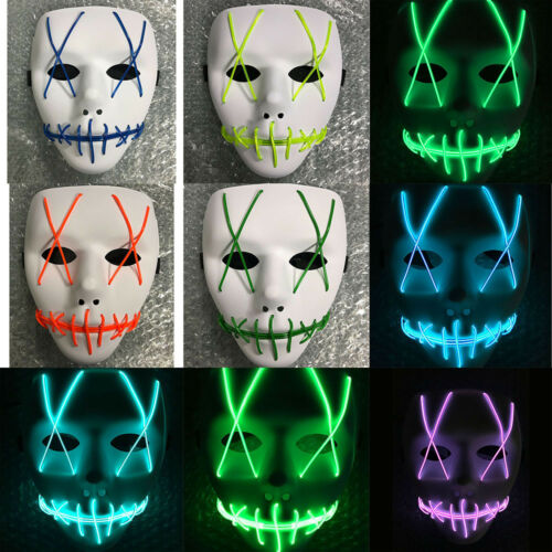 LED Mask Cosplay Led Costume Mask EL Wire Light Up The Purge Movie As Halloween
