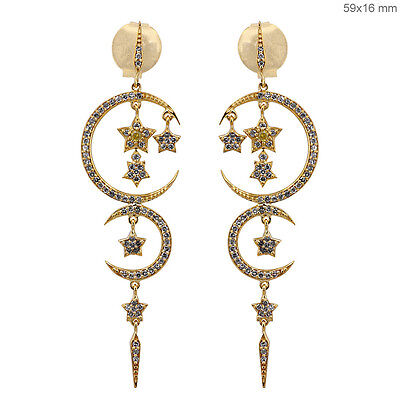 1 Ct Diamond Pave CRESCENT MOON STAR Dangle Chandelier Earrings 18k Gold Jewelry