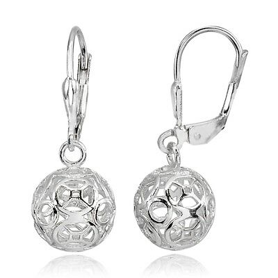 - Sterling Silver Polished Filigree Hollow Ball Dangle Leverback Earrings