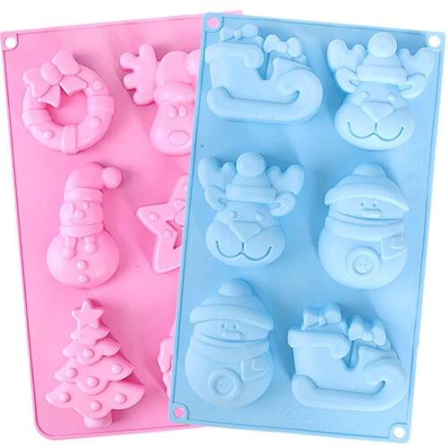 2 PIECE Silicone Soap Mold 6-Cavity Christmas Handmade Soap Molds ~ US seller