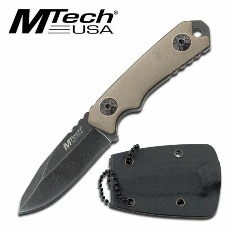 "NEW! Mtech 4.75"" Stonewash Blade, Tan G10 Handle Tactical Defense Neck Knife"