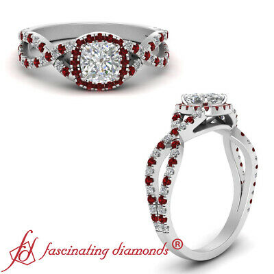 Twisted Halo Engagement Ring With 1 Carat Cushion Cut Diamond And Ruby Gemstone