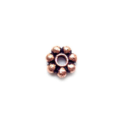 - Solid Copper 5mm Dotted Daisy Flower Spacer Bali Style Beads Q40