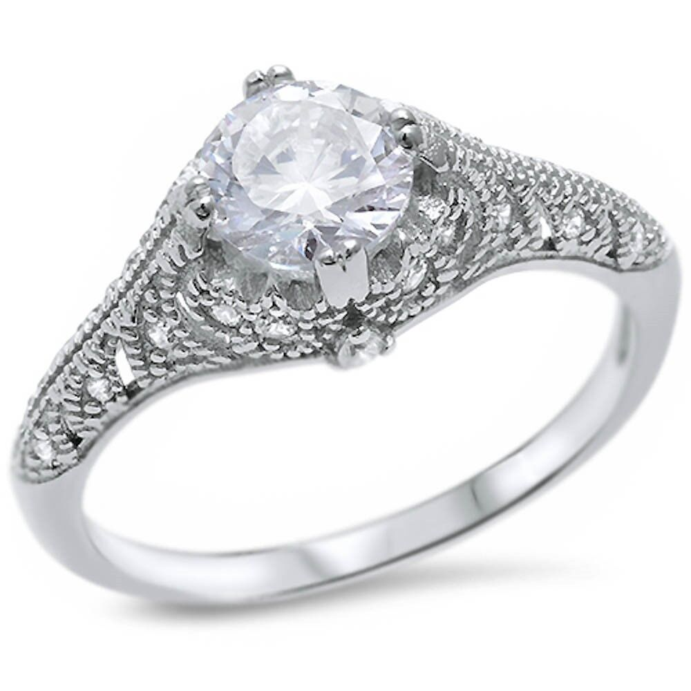 solitaire cubic zirconia engagement 925 sterling