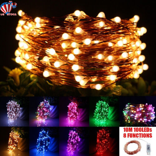 USB Plug In 100LED Fairy String Micro Copper Wire Lights CHR