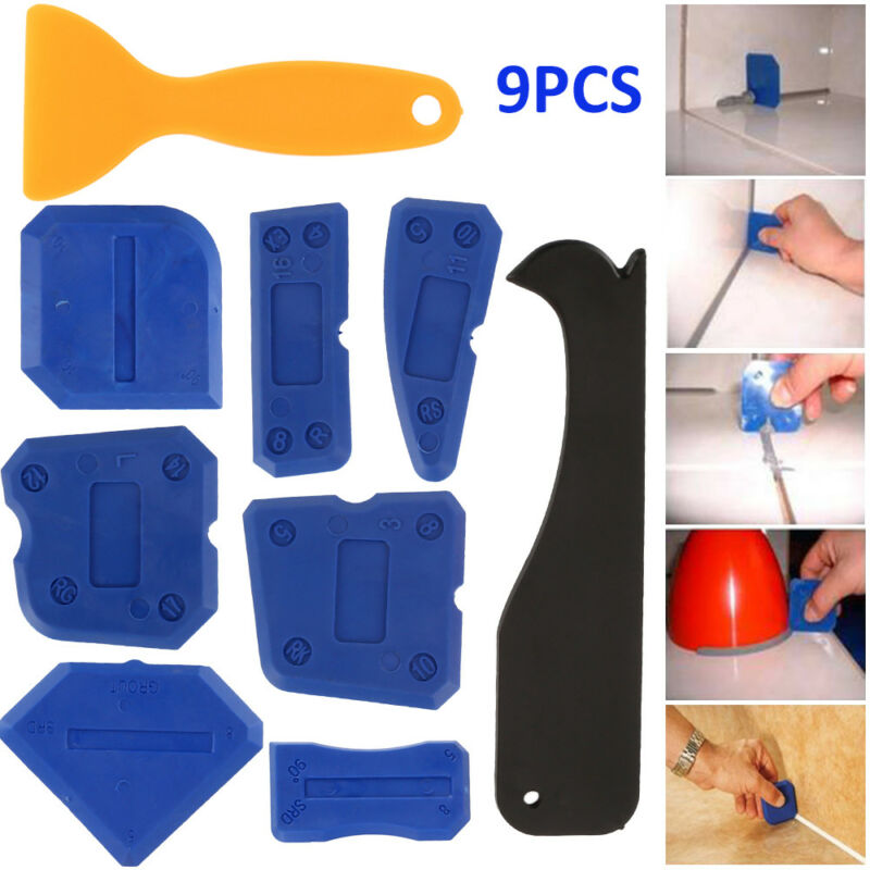 9Pcs Joint Sealant Silicone Grout Caulk Tool Set Remover Scr