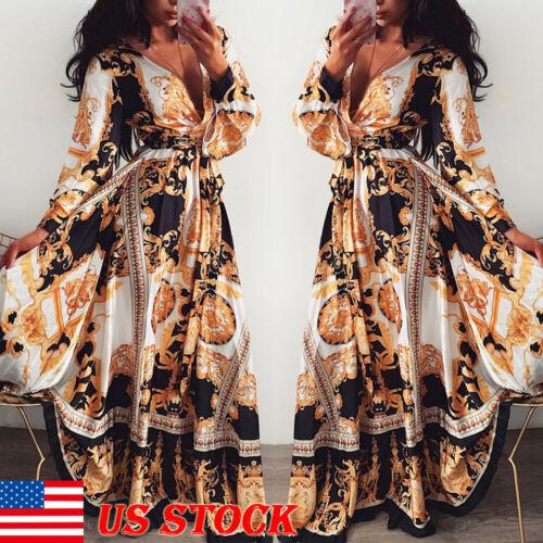 Women V-neck Long Sleeve Boho Holiday Vintage Maxi Dress Eve