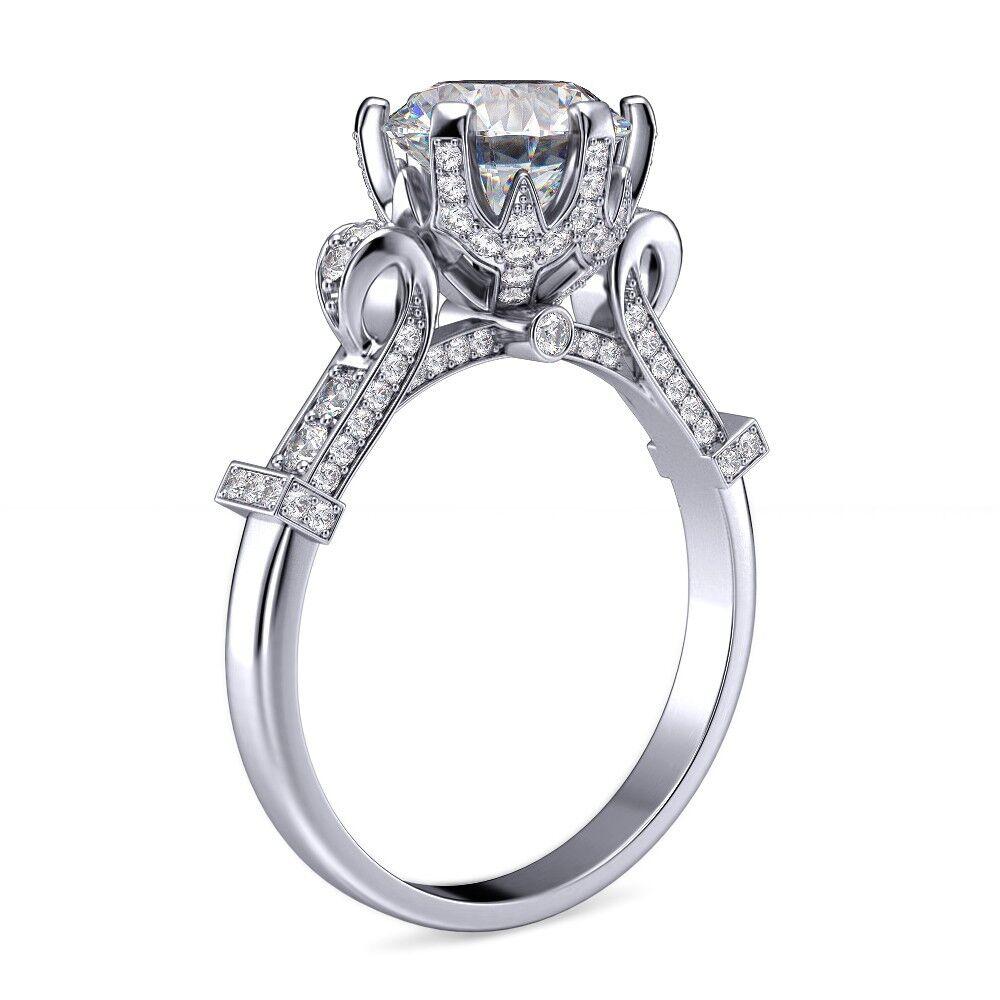 1.60 ct Round Cut Edwardian Vintage Pave Diamond Engagement Ring GIA Certified  2