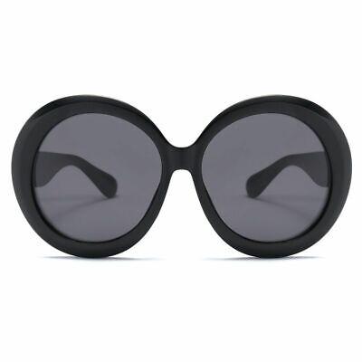 Oversized Black Women Sunglasses Round Retro Frames Large Circle UV400 Lenses