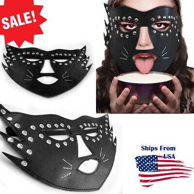 Bad Guy Costume (Submissive Leather Cat Mask Costume Bad Kitty Role-Play Bondage Slave Mask)