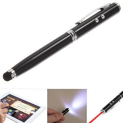 Schwarz 4in1 LED Laser Pointer Taschenlampe Touch Screen Stift für iPhone iPad