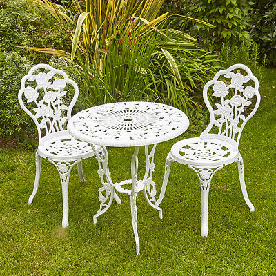 Garden Furniture - White Bistro Set Outdoor Patio Garden Furniture Table and 2 Chairs Metal Frame