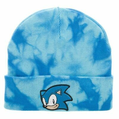 C THE HEDGEHOG EMBOIRDERED FACE (TIE DYE) BLUE BEANIE HAT (Sonic The Hedgehog Hat)