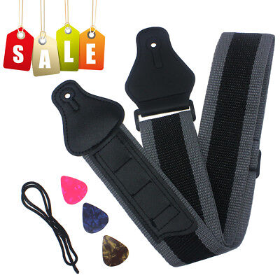 Guitar Strap Nylon Holder 3 Pick Holders Best For electric Bass Guitars