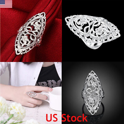 925 Sterling Silver Ring Hollow Flower Thumb Finger Rings Band Gift Wedding - Sterling Silver Finger