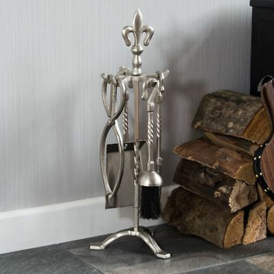 5 Piece Fleur De Lys Fire Companion Set Pewter Fireplace Tools By Home Discount