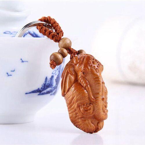 Elephant God Ganesha Statue Rosewood Wood 3D Carving Sculpture Pendant Key Chain