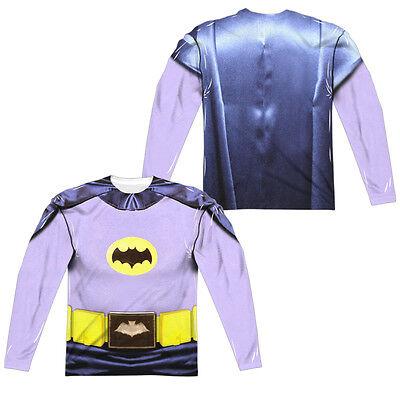 BATMAN CLASSIC TV COSTUME Adult Men's Long Sleeve Halloween Tee Shirt F/B SM-3XL