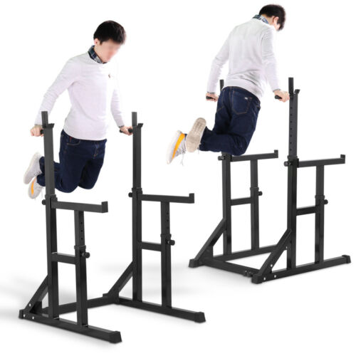 Adjustable squat rack dip stand barbell weight gym bench