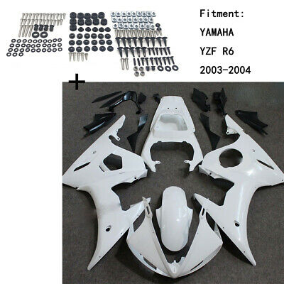 Unpainted ABS Body work Fairing Kit w/ screw For YAMAHA YZF R6 2003-2004