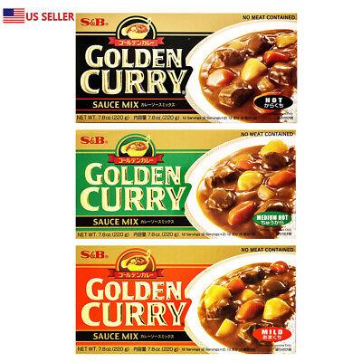 S&B Golden Curry Sauce Mix, Hot.Mild.Medium Hot 7.8oz Japan Food 日本食品 日本咖喱 -