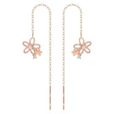 TPD Solid 14K Rose Gold Daisy Long Threader Drop Dangle a Pair of Earrings