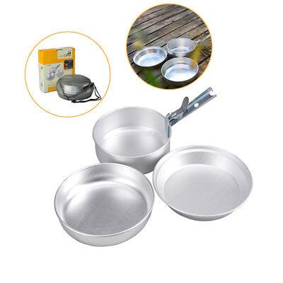 2-3 Camping Hiking Picnic Cookware Cook Cooking Pot Bowl Set Aluminum Outdoor BT
