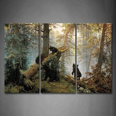 - Framed Bear Forest Tree Wall Art Painting Picture Canvas Print Animal Pictures