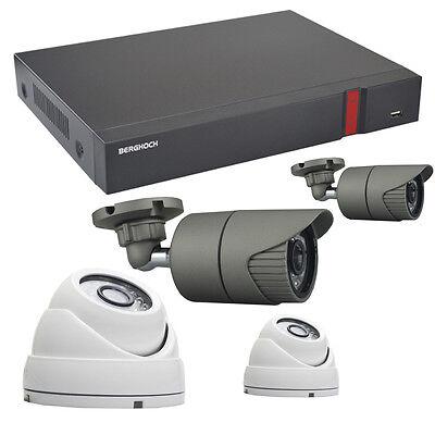 Videoüberwachung Set HD 1080p POE 2x Aussen / 2x Dome Überwachungskamera + 2 TB
