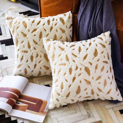 Faux Fur Pillow Cover - 2pcs Feather Faux Fur Decorative Throw Pillow Case Sofa Cushion Cover Pillowcase