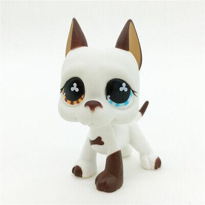 - Littlest Pet Shop LPS Collection #577 GREAT DANE DOG Brown & White Flower Eyes