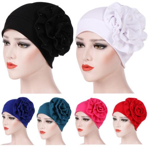 Damen Hüte Baggy Kopfbedeckungen Seite große Blume Perle Turban Kappe Mützen
