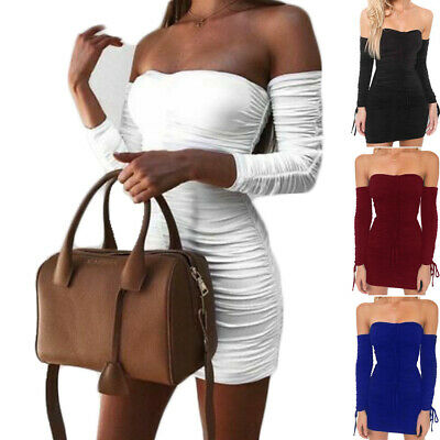 Sexy Women Summer Long Sleeve Ruched Party Evening Cocktail Party Mini Dresses (Ruched Evening Cocktail)