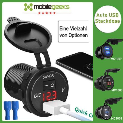 Wasserdicht Auto Steckdose USB Ladegerät Buchse 12-24V 3.1A Motorrad KFZ Einbau