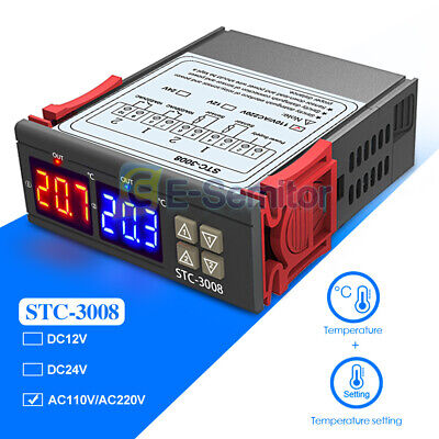 Stc-3008 110-220v Dual Led Digital Temperature Controller Thermostat Ntc Sensor