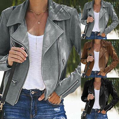 Women's Ladies Suede Leather Jacket Flight Coat Zip Up Biker Casual Tops Clothes