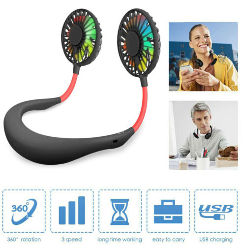 Portable Rechargeable Neckband Neck Hanging Fan Hand Free Personal Mini LED Fan Heating, Cooling & Air