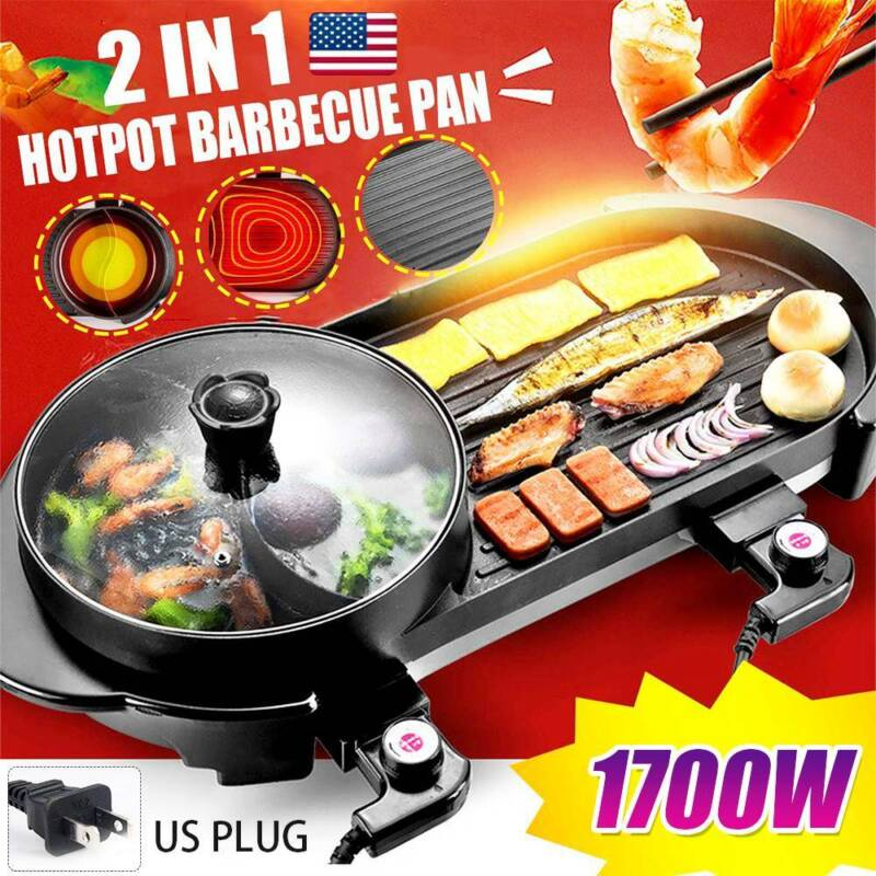 Electric 2 in1 RemovableTeppanyaki Hotpot Barbecue Pan Grill
